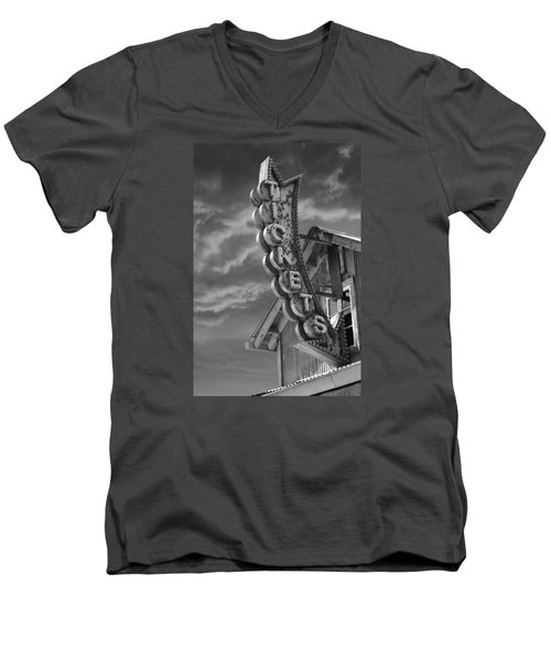 Men's V-Neck T-Shirt featuring the photograph Tickets Bw by Laura Fasulo