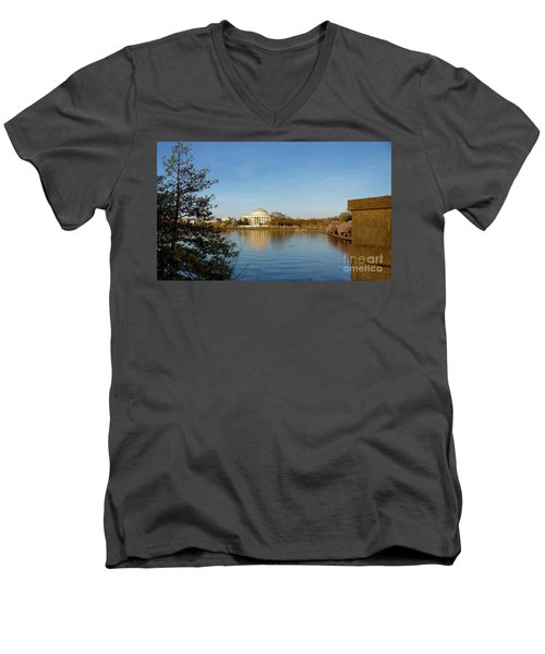 Tidal Basin And Jefferson Memorial Men's V-Neck T-Shirt by Megan Cohen
