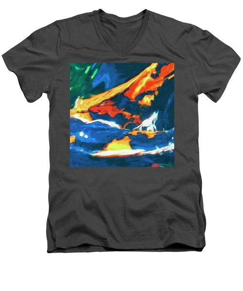 Men's V-Neck T-Shirt featuring the painting Tidal Forces by Dominic Piperata