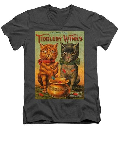 Tiddledy Winks Funny Victorian Cats Men's V-Neck T-Shirt
