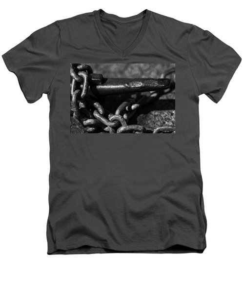 Men's V-Neck T-Shirt featuring the photograph Tied Down by Jason Moynihan