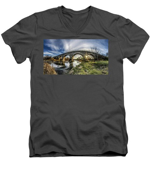 Tiffany Bridge Panorama Men's V-Neck T-Shirt