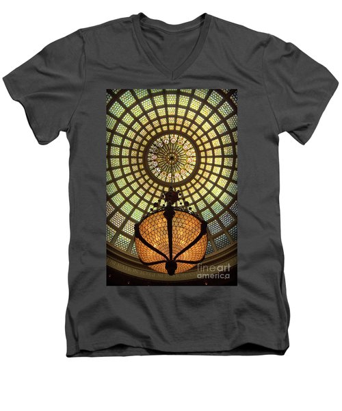 Tiffany Ceiling In The Chicago Cultural Center Men's V-Neck T-Shirt