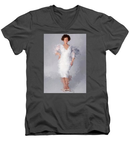 Men's V-Neck T-Shirt featuring the digital art Tiffany by Nancy Levan