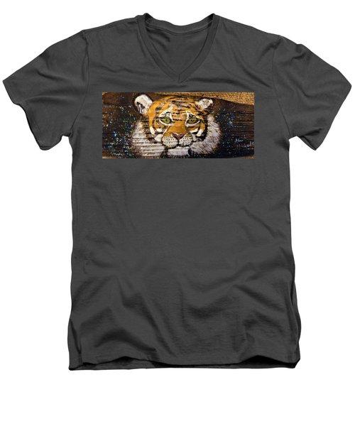 Tiger Men's V-Neck T-Shirt by Ann Michelle Swadener