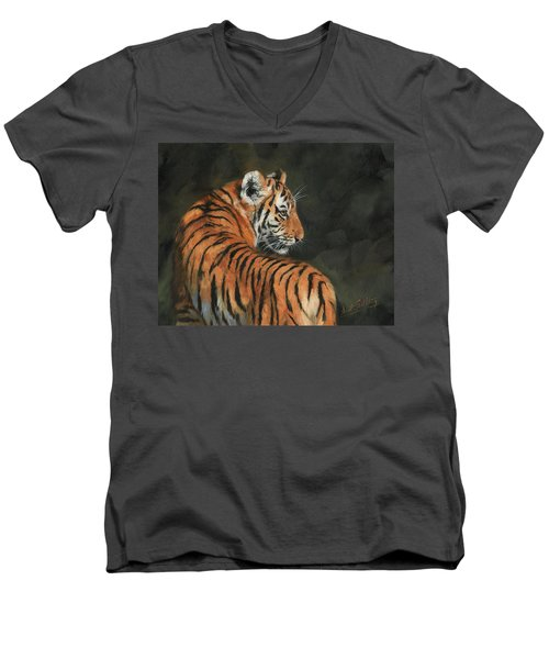 Men's V-Neck T-Shirt featuring the painting Tiger At Night by David Stribbling
