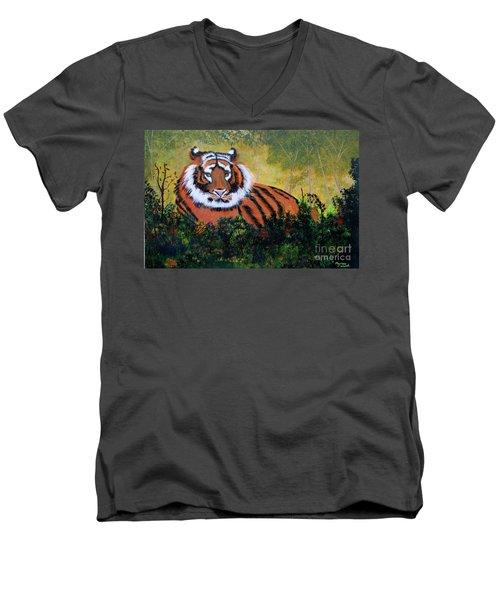 Tiger At Rest Men's V-Neck T-Shirt by Myrna Walsh