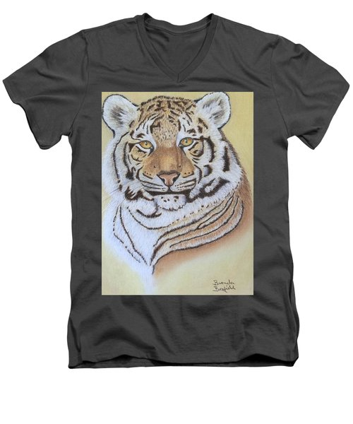 Tiger Men's V-Neck T-Shirt by Brenda Bonfield