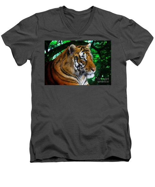 Tiger Contemplation Men's V-Neck T-Shirt