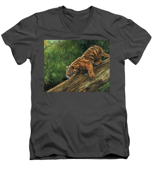 Men's V-Neck T-Shirt featuring the painting Tiger Descending Tree by David Stribbling