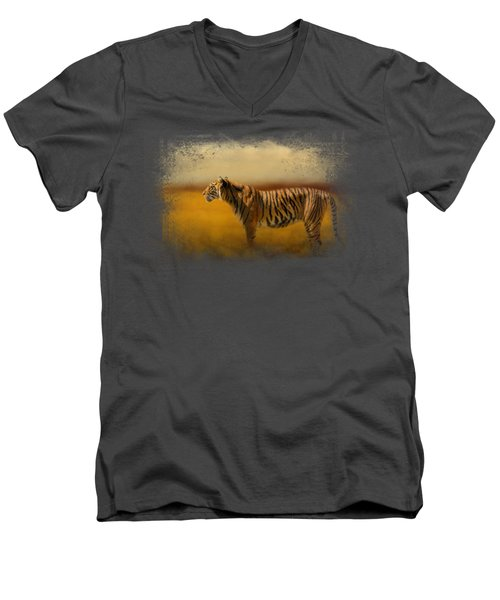 Tiger In The Golden Field Men's V-Neck T-Shirt