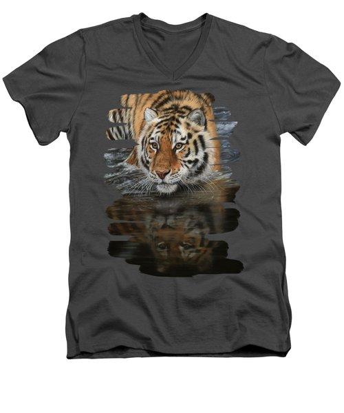 Tiger In Water Men's V-Neck T-Shirt