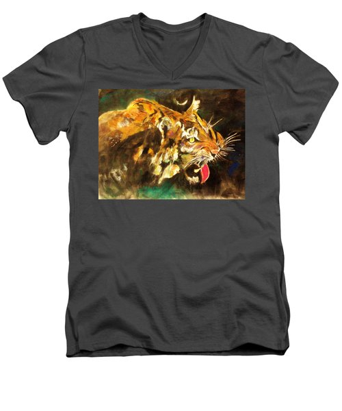 Tiger Men's V-Neck T-Shirt by Khalid Saeed
