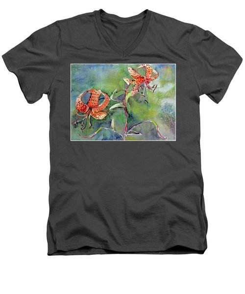 Men's V-Neck T-Shirt featuring the painting Tiger Lilies by Mindy Newman