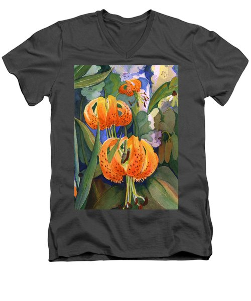 Men's V-Neck T-Shirt featuring the painting Tiger Lily Parachutes by Nancy Watson
