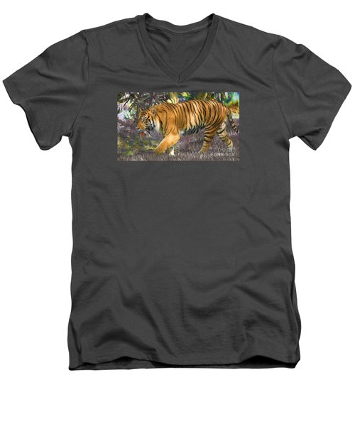 Men's V-Neck T-Shirt featuring the painting Tiger On The Prowl by Judy Kay