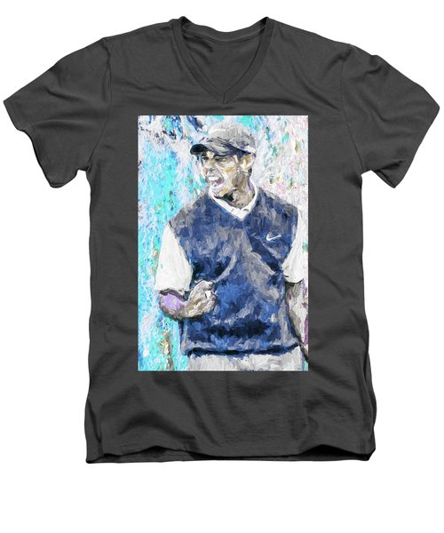 Men's V-Neck T-Shirt featuring the photograph Tiger Says 2 Painting Digital Golf by David Haskett