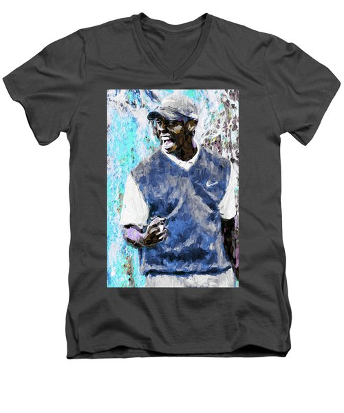 Men's V-Neck T-Shirt featuring the photograph Tiger Says Digital Painting Golf by David Haskett