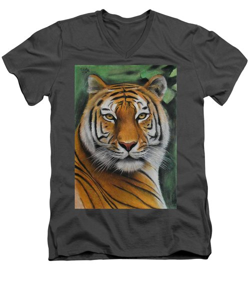 Tiger - The Heart Of India Men's V-Neck T-Shirt