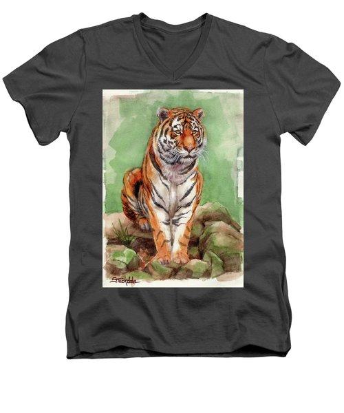 Tiger Watercolor Sketch Men's V-Neck T-Shirt by Margaret Stockdale