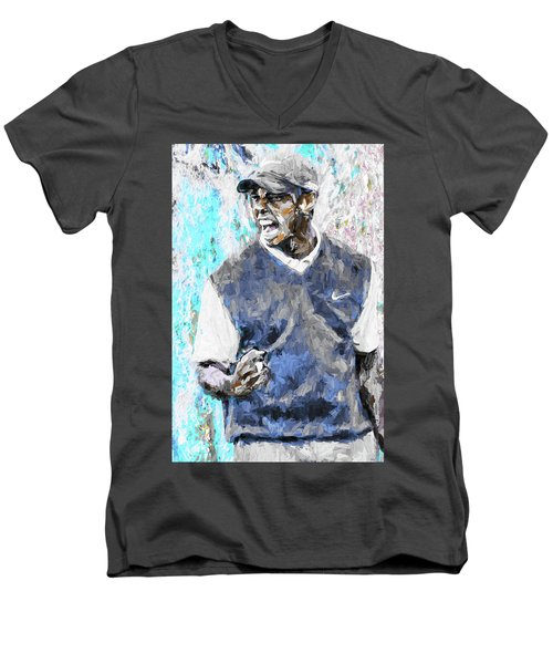 Tiger Woods One Blue Golfer Digital Art Men's V-Neck T-Shirt