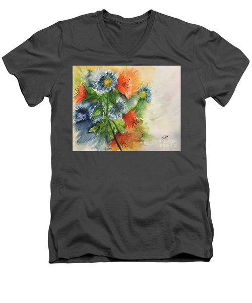 Tigerlilies And Cornflowers Men's V-Neck T-Shirt by Lucia Grilletto