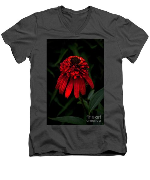 Men's V-Neck T-Shirt featuring the photograph Tiki Torch by Judy Wolinsky