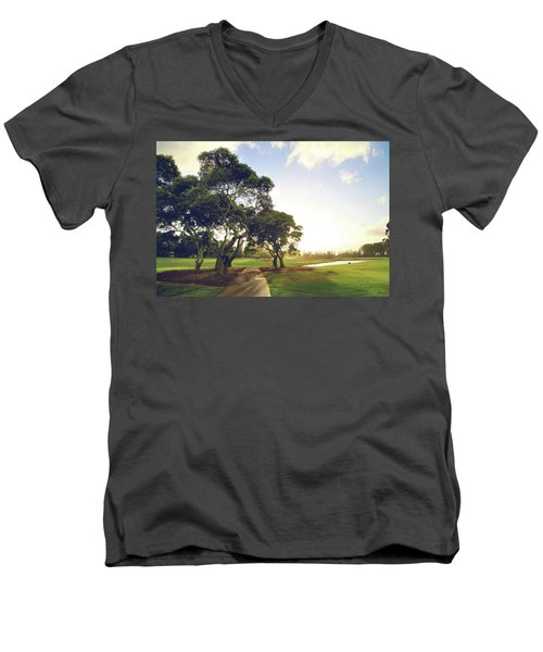 Men's V-Neck T-Shirt featuring the photograph 'til I'm In Your Arms Again by Laurie Search