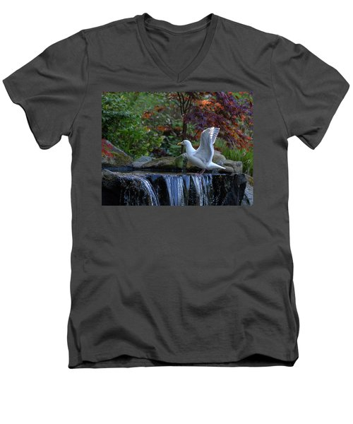 Time For A Bird Bath Men's V-Neck T-Shirt by Keith Boone