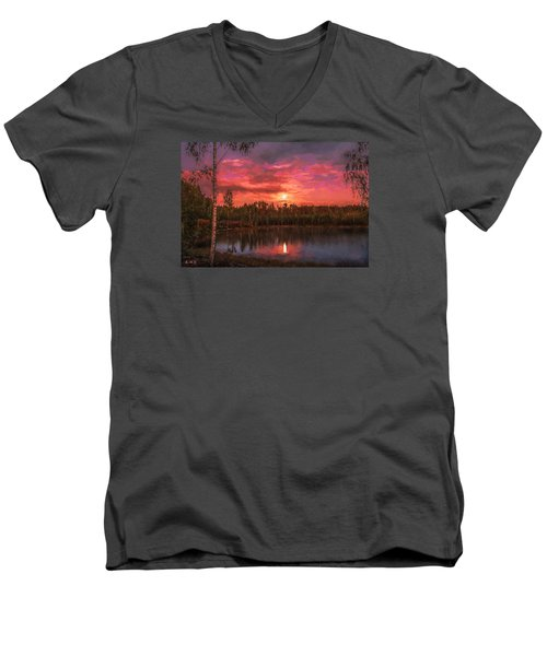 Men's V-Neck T-Shirt featuring the painting Time Of Grace by Rose-Maries Pictures