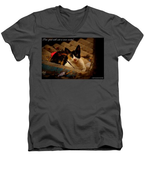 Time Spent With Cats. Men's V-Neck T-Shirt by Salman Ravish