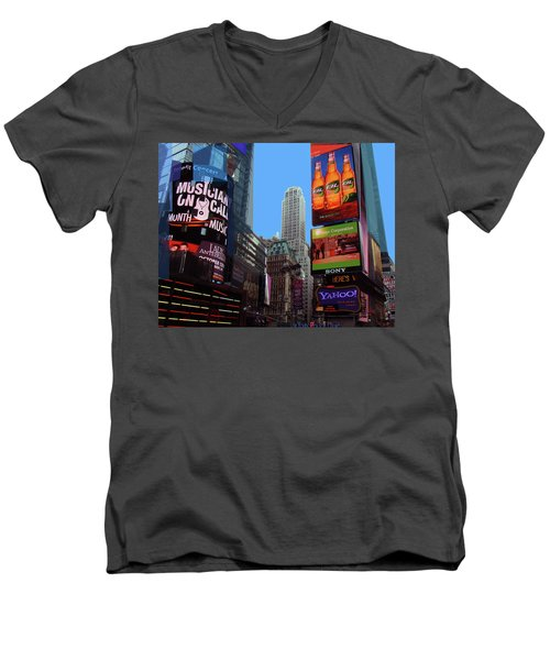 Men's V-Neck T-Shirt featuring the photograph Times Square 2 by Walter Fahmy