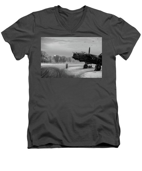 Time To Go - Lancasters On Dispersal Bw Version Men's V-Neck T-Shirt by Gary Eason
