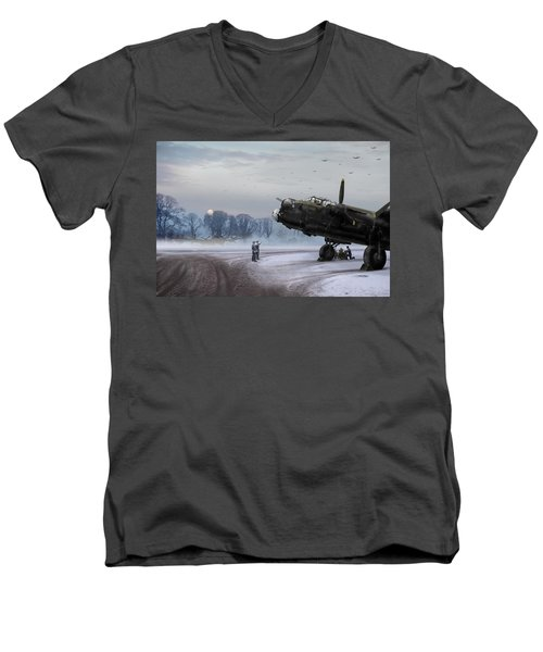 Time To Go - Lancasters On Dispersal Men's V-Neck T-Shirt by Gary Eason