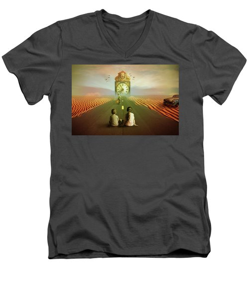 Men's V-Neck T-Shirt featuring the digital art Time To Grow Up by Nathan Wright