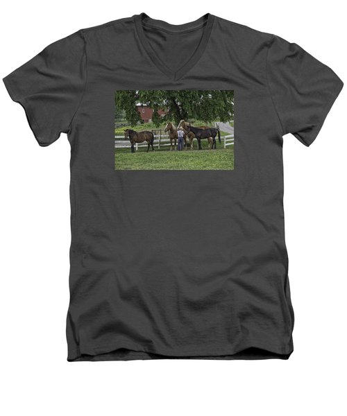 Time To Work Men's V-Neck T-Shirt by Elizabeth Eldridge