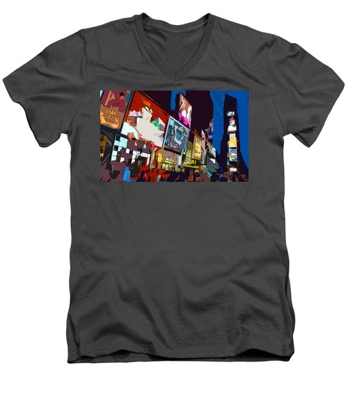 Times Square Men's V-Neck T-Shirt by Christopher Woods