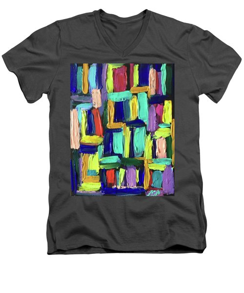 Times Square Nighttime Men's V-Neck T-Shirt by Brenda Pressnall