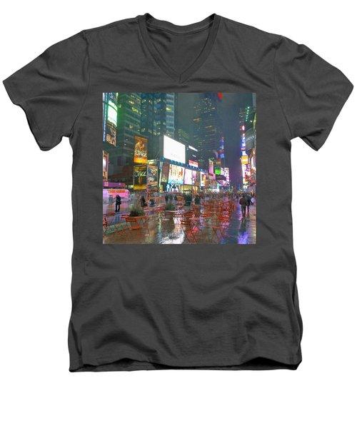 Times Square Red Rain Men's V-Neck T-Shirt