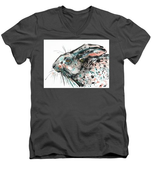 Men's V-Neck T-Shirt featuring the painting Timid Hare by Zaira Dzhaubaeva
