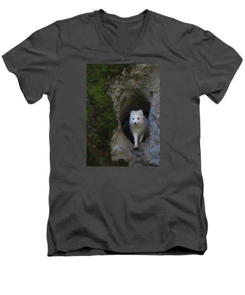 Timidly Men's V-Neck T-Shirt by I'ina Van Lawick