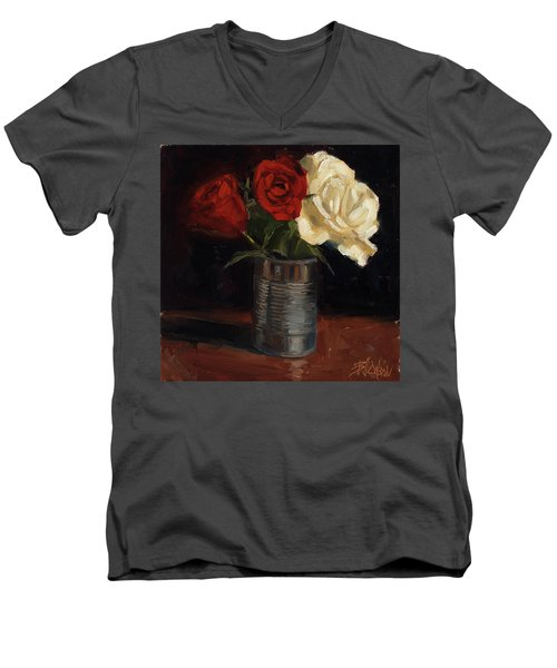 Men's V-Neck T-Shirt featuring the painting Tin Can Love by Billie Colson