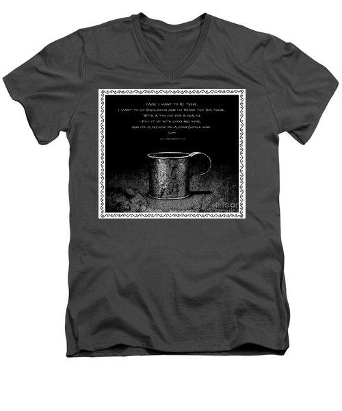 Tin Cup Chalice Lyrics With Wavy Border Men's V-Neck T-Shirt by John Stephens