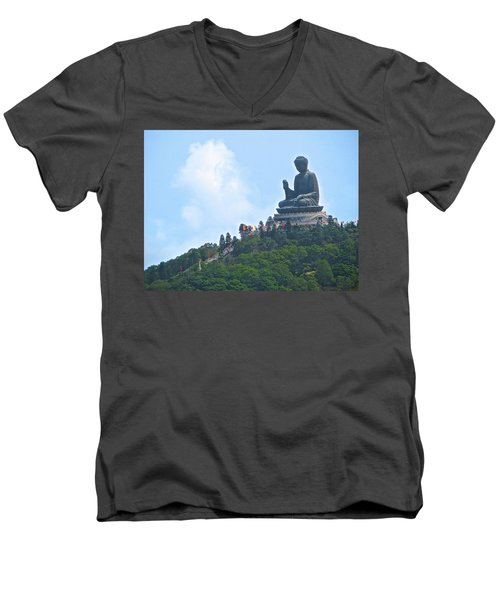 Tin Tan Buddha In Hong Kong Men's V-Neck T-Shirt