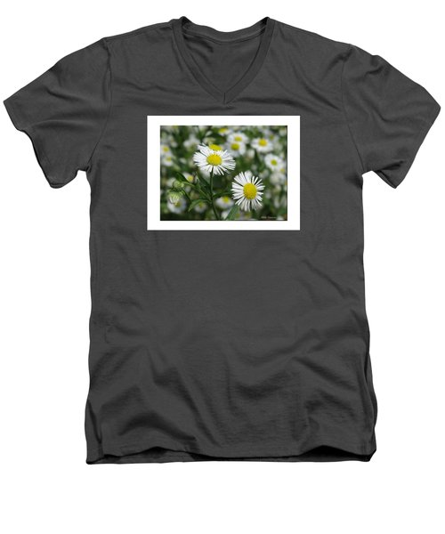 Tiny Flowers Men's V-Neck T-Shirt by Mikki Cucuzzo