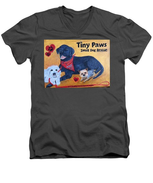 Tiny Paws Small Dog Rescue Men's V-Neck T-Shirt by Sharon Schultz