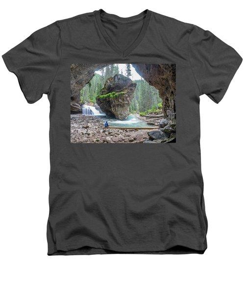 Tiny People Big World Men's V-Neck T-Shirt by Alpha Wanderlust