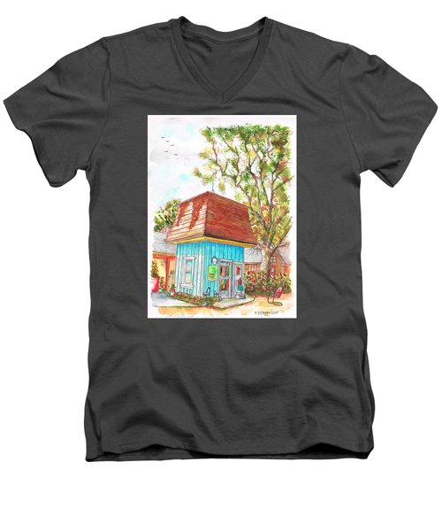 Tiny Tree Boutique In Los Olivos, California Men's V-Neck T-Shirt by Carlos G Groppa