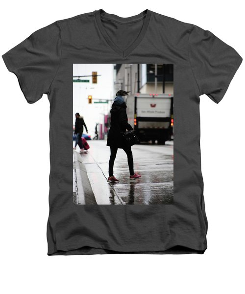 Tiny Umbrella  Men's V-Neck T-Shirt by Empty Wall