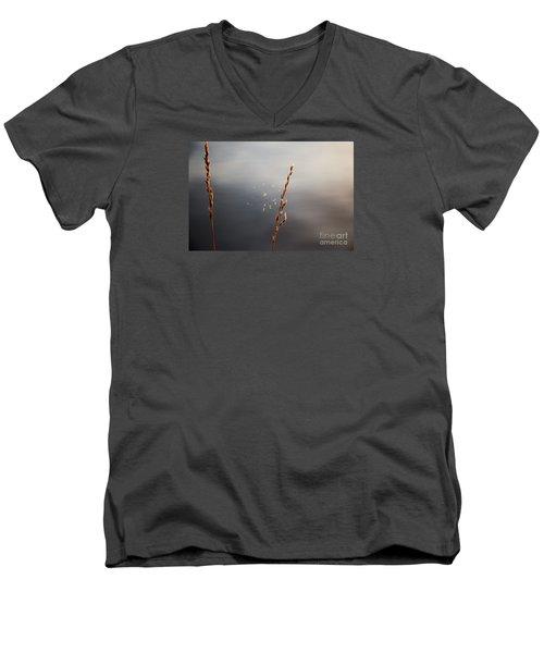 Men's V-Neck T-Shirt featuring the photograph Tiny Web by Rebecca Davis